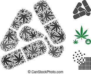 Pills Mosaic of Hemp Leaves