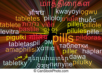 Pills multilanguage wordcloud background concept glowing