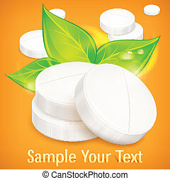 Natural round pills isolated on yellow background, vector illustration