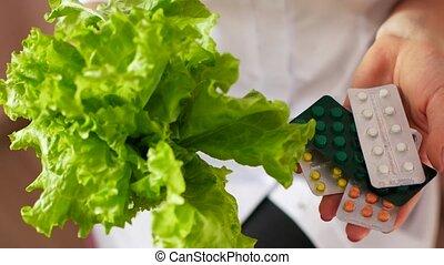 pills., naturel, salade, docteur, concept., chooses, santé, entre, ou