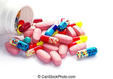 pills of antibiotic  isolated on white