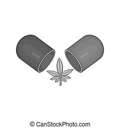 Pills of marijuana icon, black monochrome style