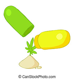 Pills of marijuana icon, cartoon style