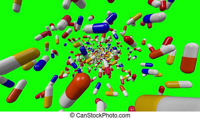 Pills on green screen background 1