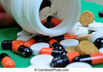 pills on table