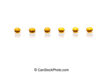 pills on the white background