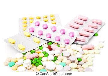 pills on white background.