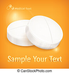 Pills on yellow - Round pills & text isolated on yellow ...