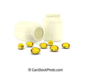 pills over white background