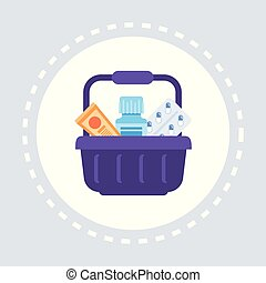 pills package tube in shopping basket pharmacy drugstore healthcare medical service logo medicine and health symbol concept flat