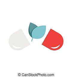 pills., plat, médicament naturel, alternative, icône