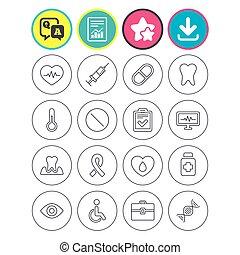 pills., pulsation, médecine, icons., seringue