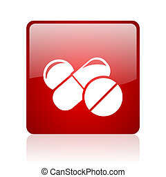 pills red square web glossy icon