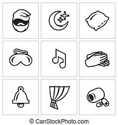 pills., sätta, man, vaggvisa, klocka, vila, sovande mask, vektor, sömn, icons., palm, kudde, natt, gardin