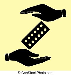 Save or protect symbol by hands. - Pills sign. Save or...