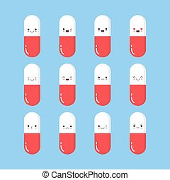 pills smiling. Happy cute pills and tablets on a blue background, medication with emotion and eyes, smile, happiness. Vector image