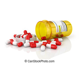 Pills spilling out of pill bottle isolated on white.