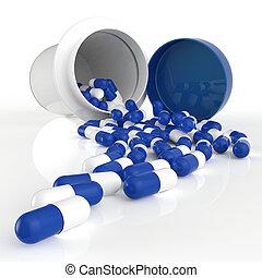 Pills 3d spilling out of pill bottle on white