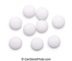 Top view of group of whitel pills isolated on white