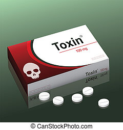 Pills named Toxin with a skull as the brand logo on the cardboard packet. It's a medical fake product, which alludes to the danger of false medication. Vector illustration.