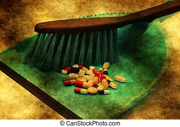 Pills trash grunge concept