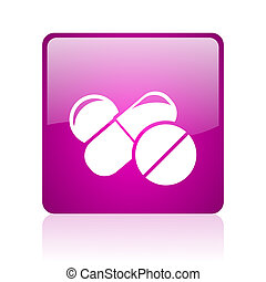 pills violet square web glossy icon