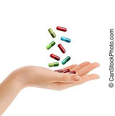 pills., vrouw, illustration., hand, vector, het vallen