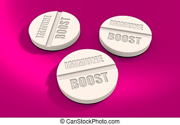 Pills with immune boost text. Pharmacy and medicaments...
