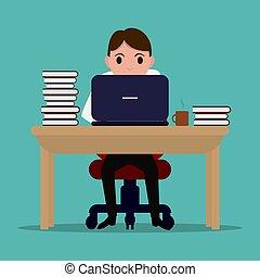 pilny, biurowy pracownik, wektor, stół, rysunek