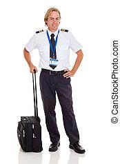 pilot, aktentasche, fluggesellschaft