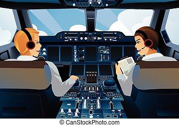 A vector illustration of pilot and copilot inside the cockpit