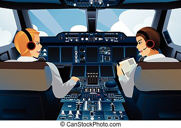 Pilot and copilot inside the cockpit - A vector illustration...