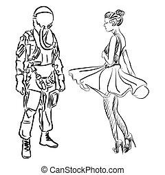 Pilot and Dancer, Hand drawn Sketch