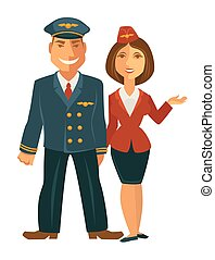 Pilot and hostess together
