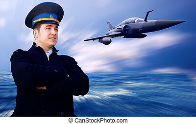 Pilot and military airplan on the speed