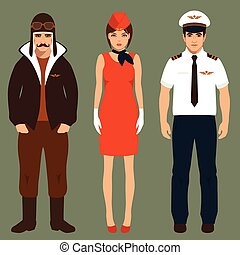 pilot and stewardess, airplane people, cartoon vector ...