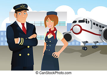 Pilot and stewardess - A vector illustration of a pilot and...