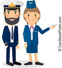 Pilot and stewardess vector characters. Airline company...