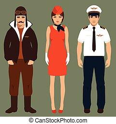 pilot and stewardess, airplane people, cartoon vector...
