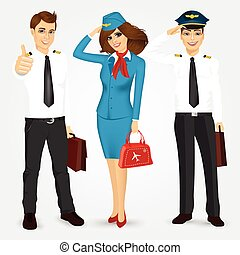 pilot and two stewardesses in uniform - portrait of a pilot...