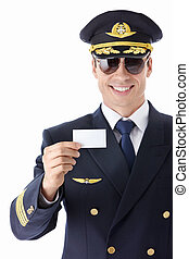 Aviator sunglasses with a business card on a white background