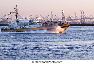Pilot-boat passing by at high speed