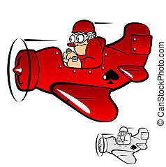 Pilot - cartoon of a pilot flying a plane in the sky in a...