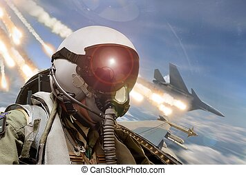 Pilot cockpit view during air to air combat with missiles...
