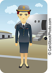 Pilot - Female airline pilot cartoon illustration.