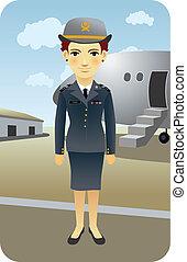 Pilot - Female airline pilot cartoon illustration.