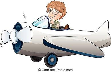 Pilot flying aeroplane on white background