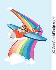 Pilot flying jet plane over the rainbow