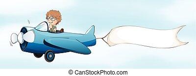 Pilot flying jet plane with white banner
