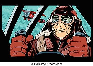 Pilot flying military aircraft pop art retro style. Retro...